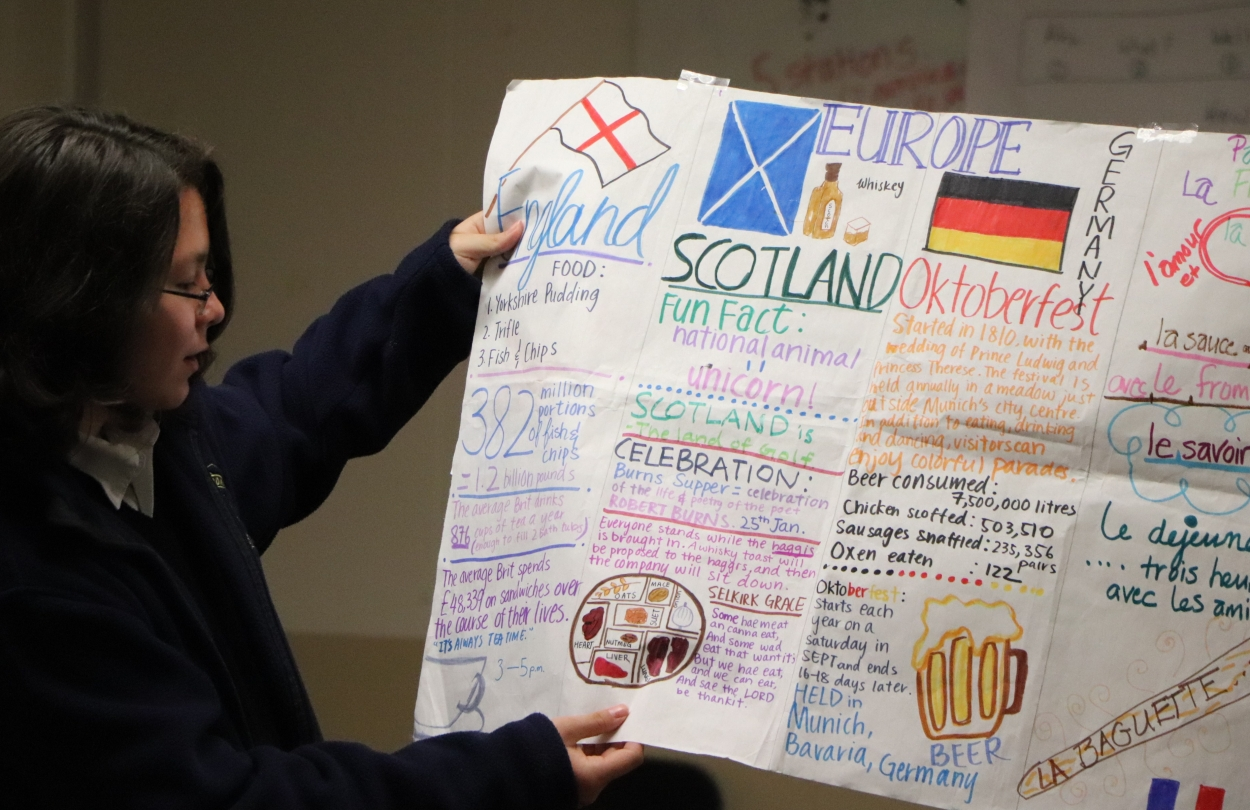 Heidi holding poster of fun facts about European countries
